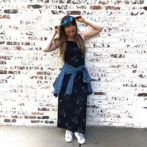 Dresses & Skirts - VTG 90s navy dress - floral, ankle length,  S